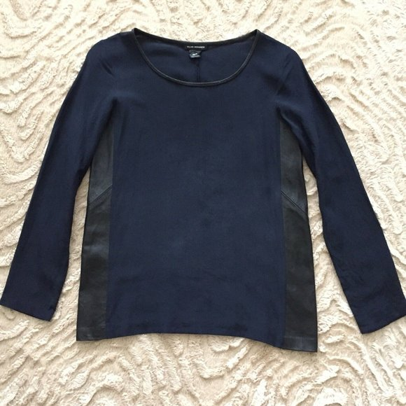 Club Monaco Silk & Lamb Leather Blouse Navy Sz XS